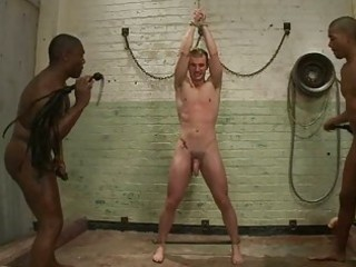 Gay stud whipped in bondage